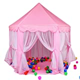 WESTLINK Princess Castle Play Tent House For Girls Indoor Outdoor Toy 56 x 54 inches Pink (Color: Pink)
