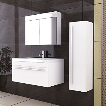 alpenberger® Garda 900 Bathroom Vanity Sink Unit Wall Hung Bathroom Washbasin and Cabinet in White Bathroom Furniture