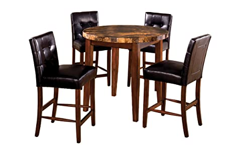Furniture of America Carignan 5-Piece Round Counter Height Table Set with Faux Marble Top, Dark Oak Finish