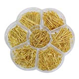 Chenkou Craft 700pcs Assorted of 7 Sizes Mix Flat Head Pins for Jewelry Making (Gold, Mix) (Color: Gold, Tamaño: Mix)