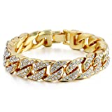 Trendsmax 14mm Mens Womens Chain Hip hop Iced Out Miami Curb Cuban Gold Plated Bracelet w Paved Clear Rhinestones 10inch