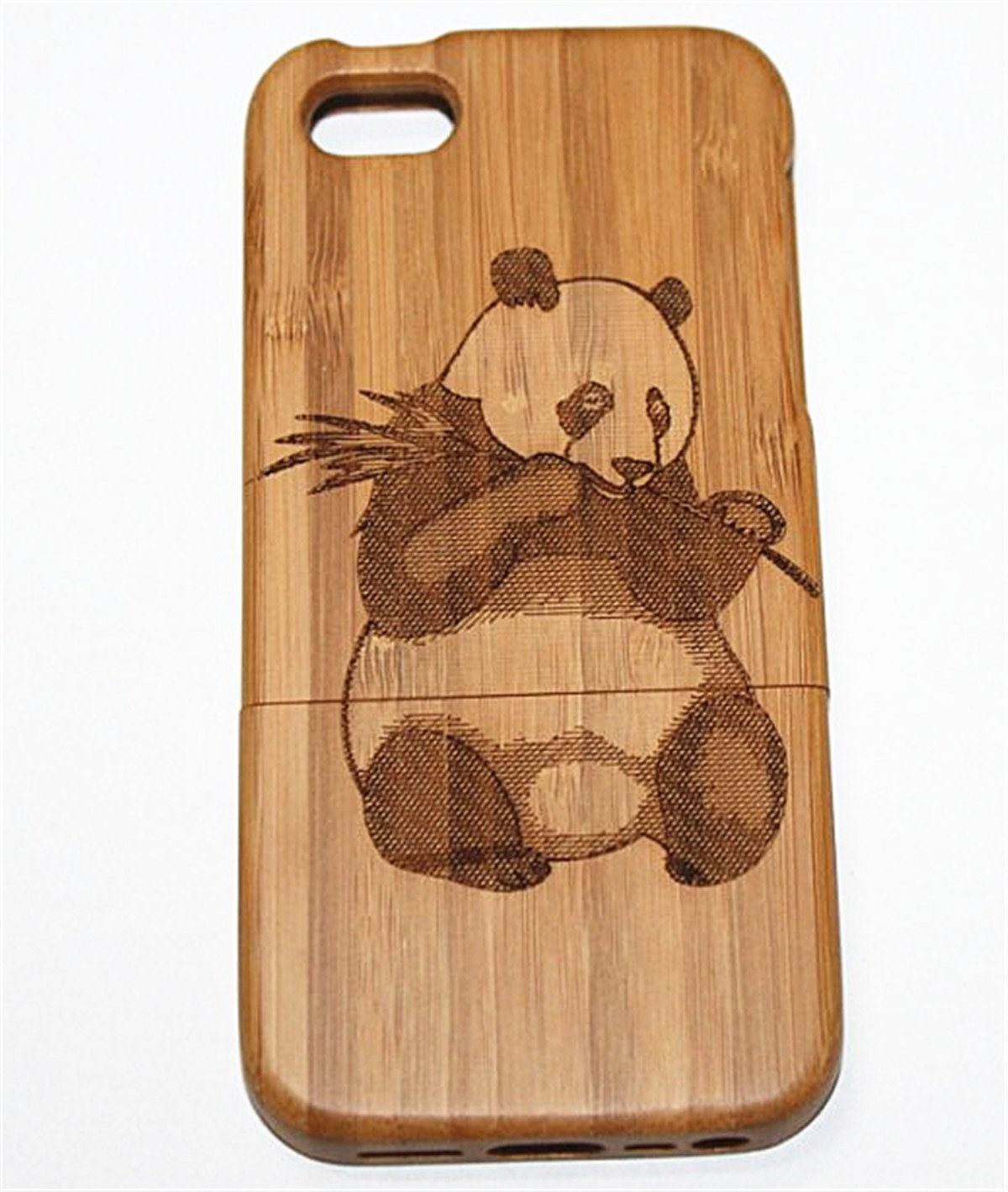 iPhone 6/6S Plus Case, Firefish Panda Pattern Natural Handmade Hard Wood Case Cove With Laser Engraved Shock & Scratch Protective For iPhone 6/6S Plus ( With A Stylus) -Panda