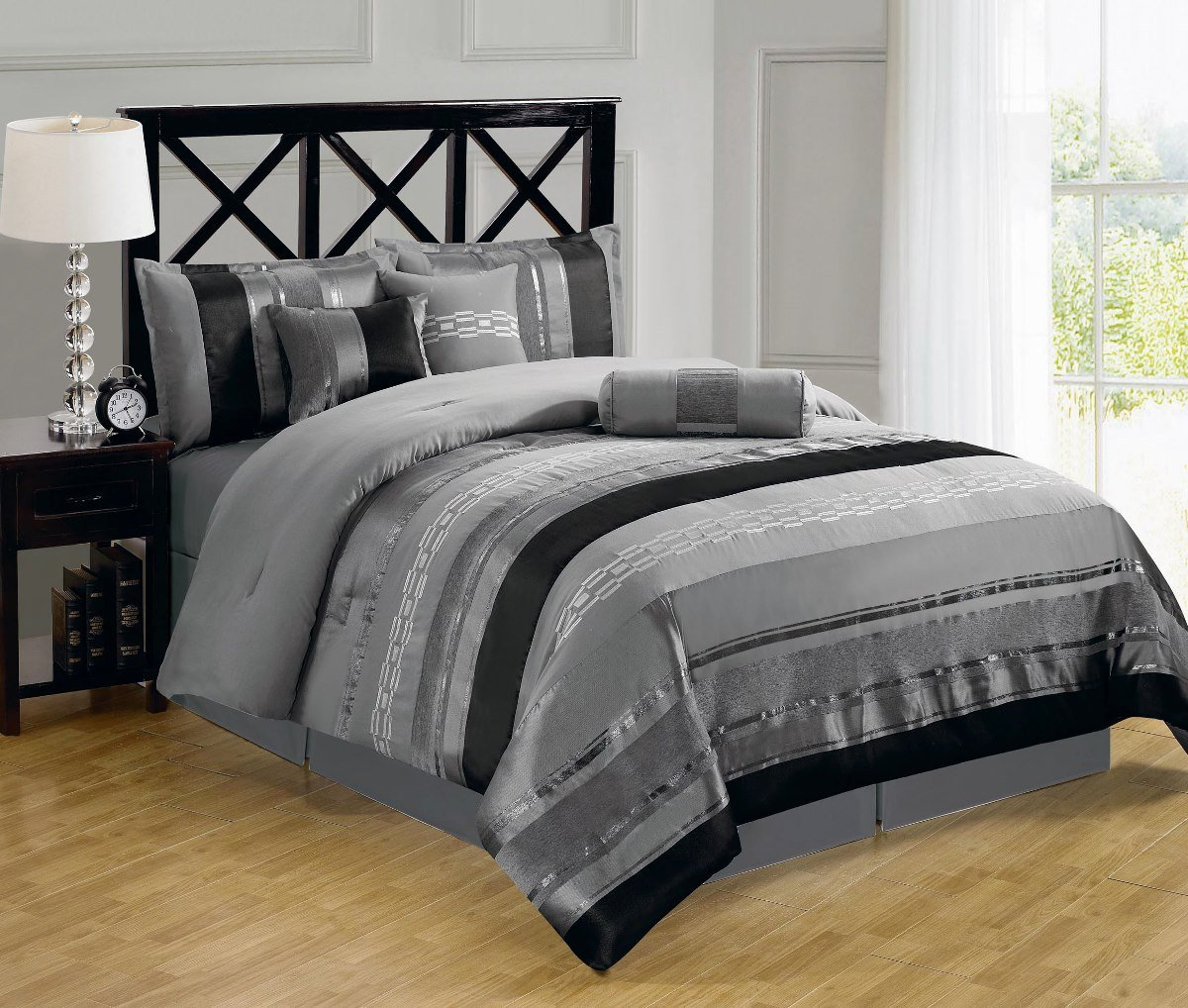 sheetsnthings Full size 11pc Claudia Gray set includes:7PC  Comforter set and 4PC Microfiber sheet set at Sears.com