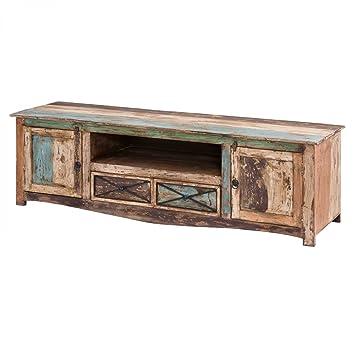 TV Lowboard Largo TV Board im Vintage Shabby Chic Stil Massivholz Bunt Mehrfarbig 180 cm Breit