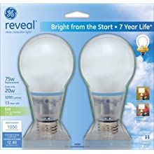 GE Lighting 63511 20-Watt 1050-Lumen Bright from the Start CFL Light Bulb, Reveal, 2-Pack