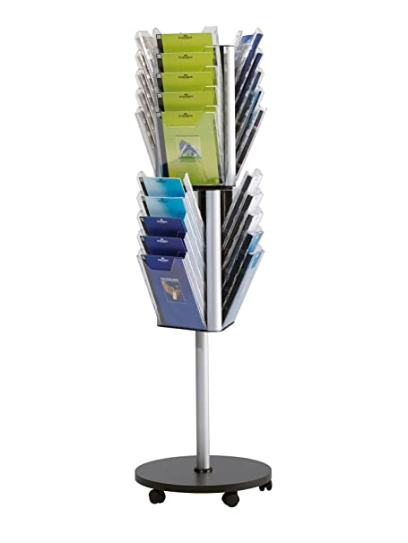Durable 861619 Combiboxx Stand A4 L Présentoir Carrousel Rotatif sur Pied Mobile 30 Cases Vertical