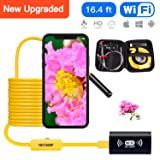 Upgraded Portable WiFi Endoscope Camera 1200P HD IP68 Waterproof Snake Camera with 8 Adjustable LED Semi-Rigid WiFi Endoscope for Android iOS Mac Windows by Austone (Yellow 16.4FT) (Color: yellow, Tamaño: 16.4FT (5M))