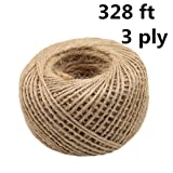 3ply Jute Twine, 328 ft Heavy Duty Natural Twine String for Artworks, DIY Crafts, Gift Wrapping, Christmas Wedding Garden Decorate (Natural Color) (Color: Natural Color)
