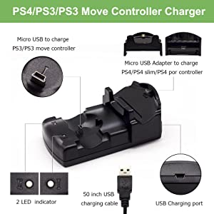PS4/PS3 Controller Charger, BRHE Playstation 4/PS4 Pro/PS4 Slim/PS3/PS3 Move Controller Charger Charging Docking Station Stand USB Fast Charging Station for Sony PS4/PS3 Controller--Black