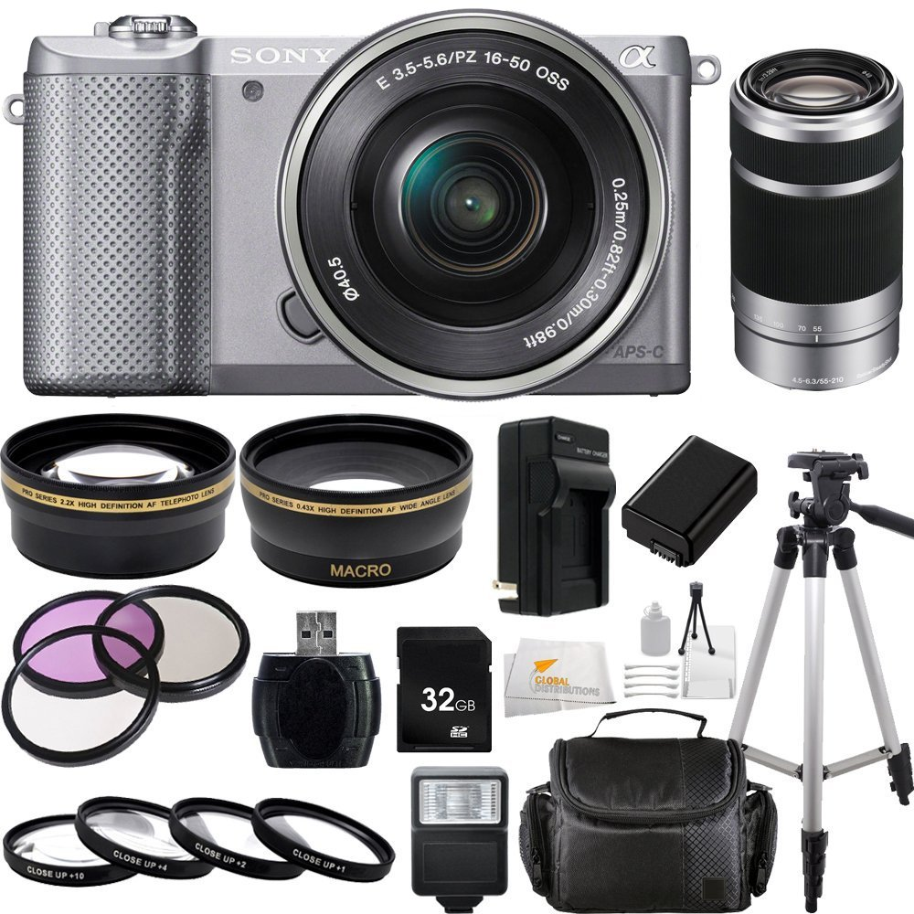 Sony Alpha a5000 ILCE-5000L/S ILCE5000LS ILCE5000 20.1 MP SLR Camera with 16-50mm Lens (Silver) + 55-210mm f/4.5-6.3 OSS E-Mount Lens (Silver)  ..