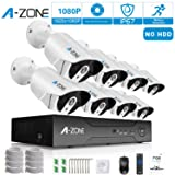 Security Camera System, A-ZONE Security 1080p 8 Channel PoE IP Security Surveillance Camera System with 8 Outdoor/Indoor 1080P Security Camera, Free Remote View, Super HD Night Vision- No Hard drive (Color: 8CH NVR 8pcs camera,1080p)