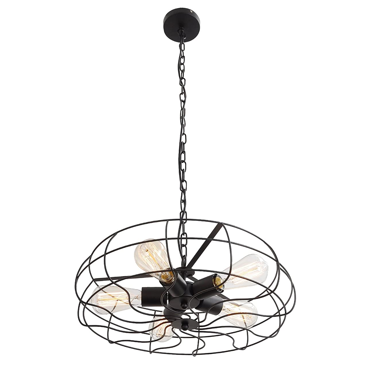 UNITARY BRAND Vintage Barn Metal Hanging Ceiling Chandelier Max. 200W With 5 Lights Painted Finish 0