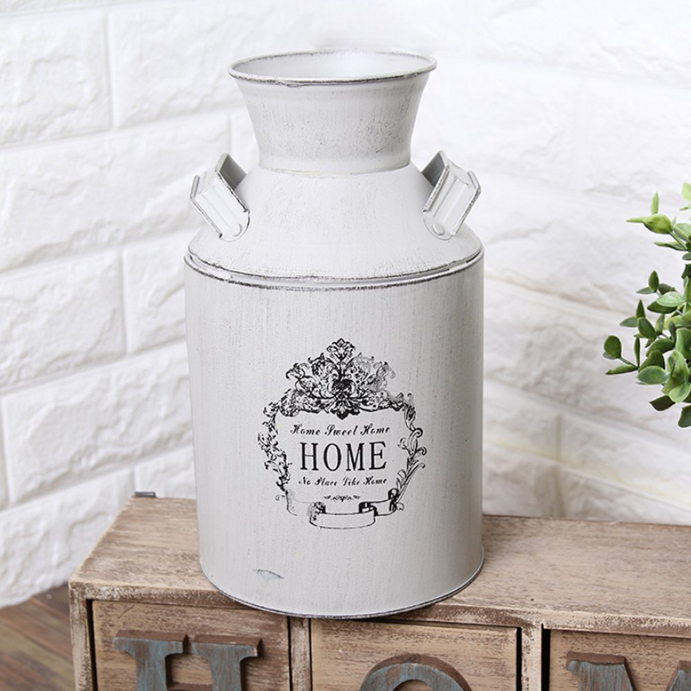 Watering Honey French Style Country Rustic Primitive Jug Vase Milk Can for Home Decoration 3