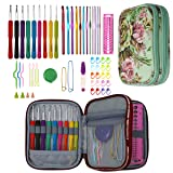 KOKNIT Crochet Hook Set 59 PCS with Ergonomic Handles 2mm-6mm Comfort Grip for Arthritic Hands,Aluminum Handle Crochet Hooks Knitting Needles Size from 2mm-8mm,Contains All The Crochet Accessories Kit (Color: green, Tamaño: 59pcs crohet hook with case)