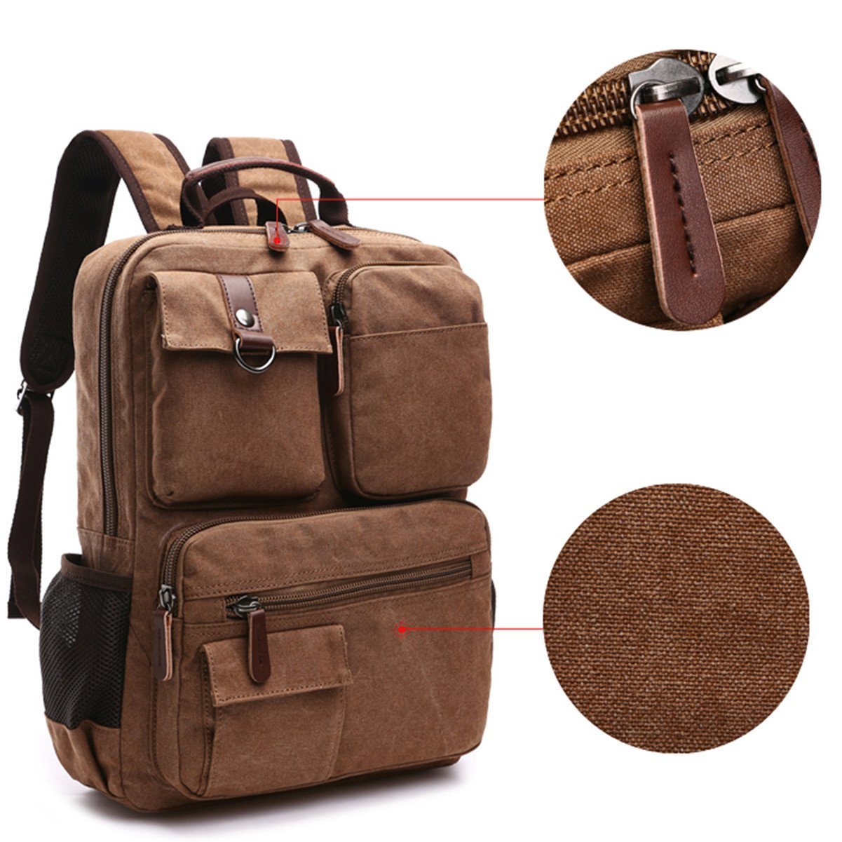 Aidonger Vintage Canvas School Backpack Laptop Backpack 2