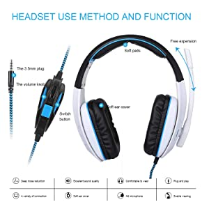 Gaming Headset for PC PS4 Xbox One Tablet Mac Smart Phone Gaming Headphone with Noise Canceling Mic,Bass Surround,Soft Memory Earmuffs(White) (Color: White, Tamaño: AH18)
