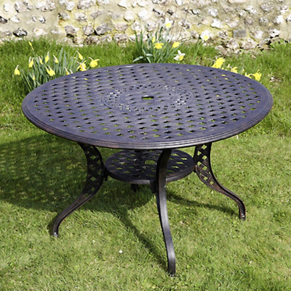Lily 120cm Rundes Gartenmöbelset Aluminium - 1 LILY Tisch + 4 EMMA SA Stühle