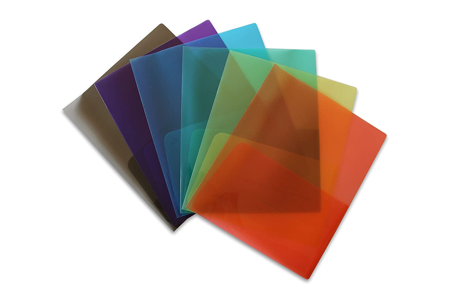 Clear Lightweight Plastic 2 Pocket Folder (Pack of 6 Assorted Colors) For Letter Size Papers, Includes Business Card Slot