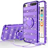 Compatible for Apple iPod Touch 7th, 6th, 5th Generation Case, SOGA Cute Girl/Women Rhinestone Bumper Sparkling Glitter Bling Diamond Phone Cover with Magnetic Ring Stand - Purple Strip (Color: Stripe Purple)