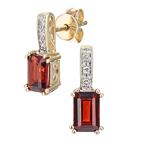 Naava 9ct White Gold Diamond and Gemstone Rectangle Cut Drop Earrings