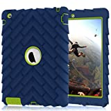iPad 4 Case,iPad 2 Case,iPad 3 Case, Heavy Duty Shock-Absorption Three Layer Armor Defender Protective Case for iPad 2/iPad 3/iPad 4 (NavyBlue+Green) (Color: Navy Blue / Green)