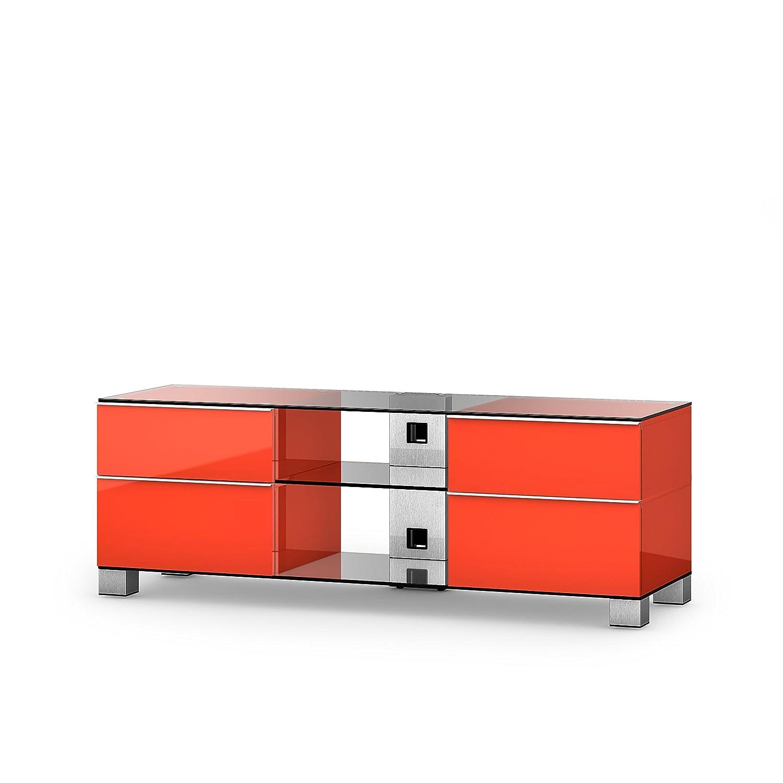 Sonorous MD 9340-C-INX-RED Fernseher-Möbel mit Klarglas (Aluminium Inox, Korpus Hochglanzdekor) rot