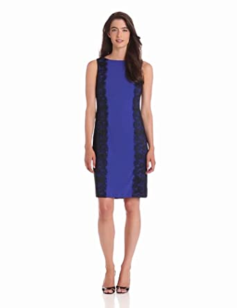 Isaac Mizrahi Women's Fitted Jersey Dress With Lace Trim, Blue, 4