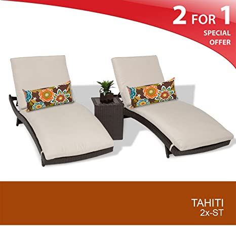 Tahiti Chaise Set of 2 - Outdoor Wicker Patio Furniture - With Side Table - Beige