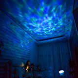 [Wall Adapter Included] Remote Control Ocean Wave LED Projector Night Light With 7 Colorful Light Mode and Built-in Music Player Black (Color: Black)