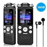 Digital Voice Recorder, CICIR 16GB Activated Sound Audio Recorder Dictaphone, Portable HD USB Digital Recorder with Double Microphone, 1120 Hours Voice Recorder for Lectures/Meetings/Interviews/Class (Color: black)