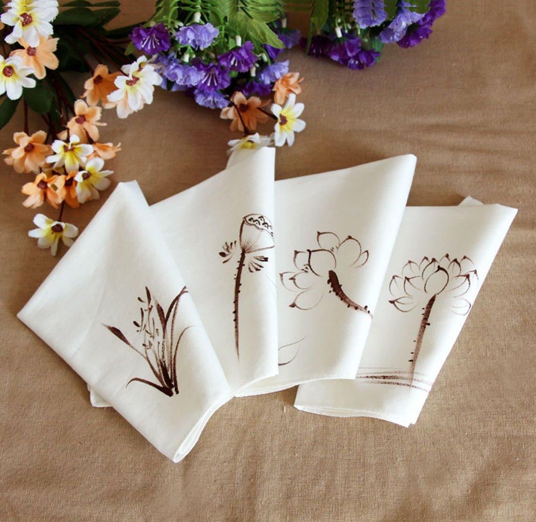 Ladies Chinese Antique Style Soft Cotton Linen handkerchiefs 1