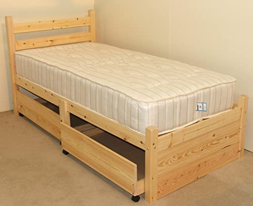 Single pine bed with orthopeadic mattress - storage 3ft Pine Bed Frame - Can be used by Adults - includes two large pull out underbed drawers