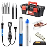 Soldering Iron Kit, Including 60W Temperature Control Soldering Iron with ON/OFF Switch, Tips, Solder Sucker, Desoldering Wick, Solder Wire, Anti-static Tweezers and Stand