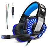 Gaming Headset for Xbox One Ps4, Gamer Headphone with Mic, Over Ear Bass Stereo, Noise Reduction Microphone, LED Light and Volume Control for PC, Nintendo Switch/3DS, Laptop, Mac, Pad, Smartphone (Color: Blue, Tamaño: 8.27*4.33*8.66 in)