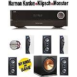 Harman Kardon AVR 1710 7.2-Channel 100-Watt Network-Connected Audio/Video Receiver + 5 Klipsch - R2502WII + Klipsch - R112SW + Monster Cable - PLATXPMS50 Bundle