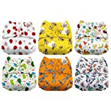 Mama Koala One Size Baby Washable Reusable Pocket Cloth Diapers, 6 Pack with 6 One Size Microfiber Inserts (Wings & Things) (Color: Wings & Things, Tamaño: One Size)