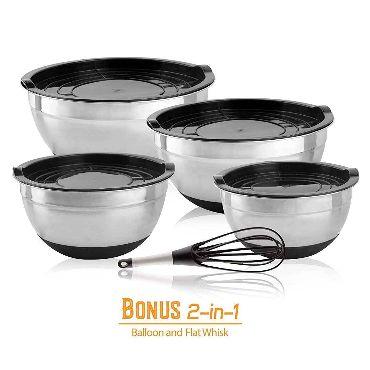Golden Chef - Stainless Steel Mixing Bowl Set With Tight-Fitting Lids & Silicone Bottom With Bonus Whisk Nesting Metal Serving Bowls Ideal for Kitchen, Camping, And Food Storage