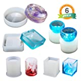 Resin Silicone Mold LET'S RESIN Resin Art Molds Include Round, Square, Cylinder, Small Bowls, Silicone Molds for Concrete, DIY Coaster/Flower Pot/Ashtray/Pen Candle Soap Holder (Color: Hollow Resin Molds)