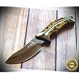 8.75 INCH OVERALL ELK-RIDGE FIXED BLADE FULL TANG HUNTING SHARP KNIFE With NYLON SHEATH - Premium Quality Hunting Very Sharp EMT EDC