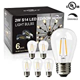 BRIMAX 2W LED S14 Light Bulbs, E26 Medium Screw Base, Equivalent to 20W-25W, Warm White Dimmable Clear Glass Energy Saving LED Filament Light Bulbs, Best for Sputnik Chandelier Light Bulbs (6 Pack)