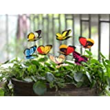 Ginsco 25pcs Butterfly Stakes Outdoor Yard Planter Flower Pot Bed Garden Decor Butterflies Christmas Tree Decorations (Color: multicolor)