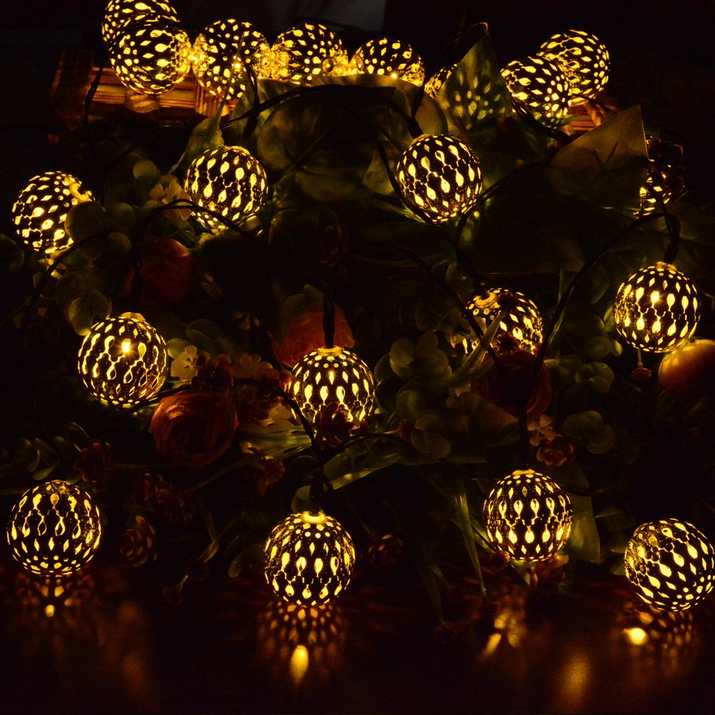 Dephen Solar Globe String Lights Moroccan Ball String Lights Warm White 15ft 20 Led