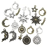 100g (about 80pcs) Craft Supplies Celestial Collection Charms Pendants for Crafting, Jewelry Findings Making Accessory For DIY Necklace Bracelet (sun moon star charms) (Color: sun moon star charms)