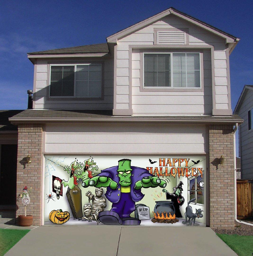 Diy halloween garage door decorations -  259 00 Frank And Friends Outdoor Halloween Holiday Garage Door D Cor 7 X16 Fits A Standard 7 X16 Garage Door Fun Colorful Designs