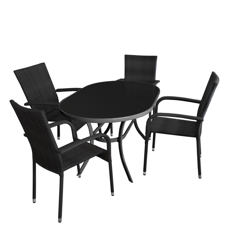 5tlg gartengarnitur glastisch oval gartentisch mit. Black Bedroom Furniture Sets. Home Design Ideas