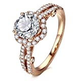 AllenCOCO Cubic Zirconia Ring 14K Rose Gold Plated Simulated Diamond Halo Engagement Wedding Rings for Women(5)