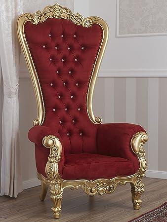 Poltrona trono stile Barocco Imperiale foglia oro velluto bordeaux bottoni Swarovski