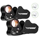 VIVOSUN 2-Pack 30X 60X Illuminated Jewelers Loupe Foldable Magnifier with LED Light for Jewelry Gems Watches Coins Stamps Antiques Black (Color: Black 2-PACK)