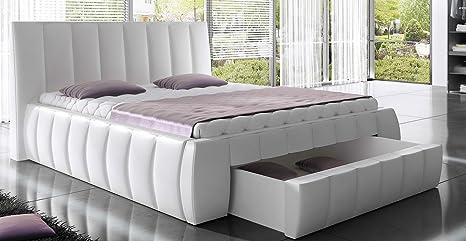 Bett ROMA Betgestelle Polsterbett Ehebett Doppelbett (140 x 200 cm, weiß)