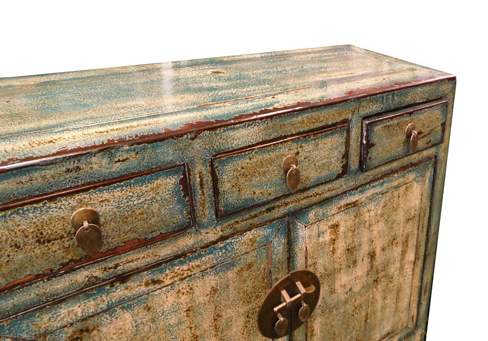 Chinese Distressed Blue Side Tall Credenza Table Cabinet Acs1695 3